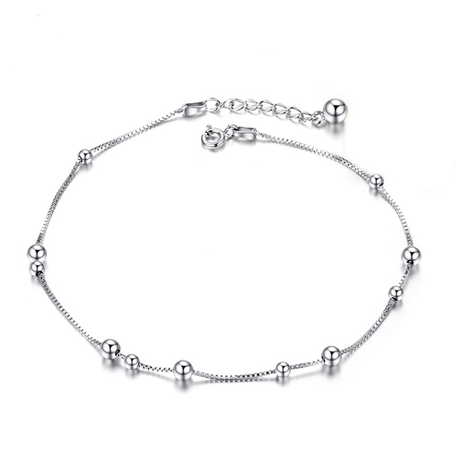 Anklet with Heart Sterling Silver Chain Anklets for Women Girl with 10 Charm Beads,8.5