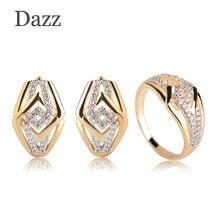 00f6084a3a36 DAZZ real Micro incrustaciones de Zircon de joyería conjunto para las  mujeres de Color oro regalos pendientes de anillo traje de.
