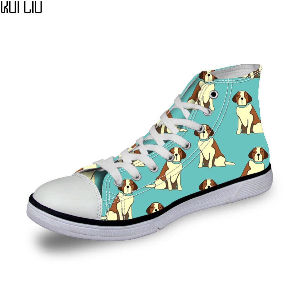 Fashion Women Casual 3d Animal French Bulldog Printed Shoes Female Lace-up Flats Girl High Top Canvas Shoes Mujer Animal Prints Discounts Price