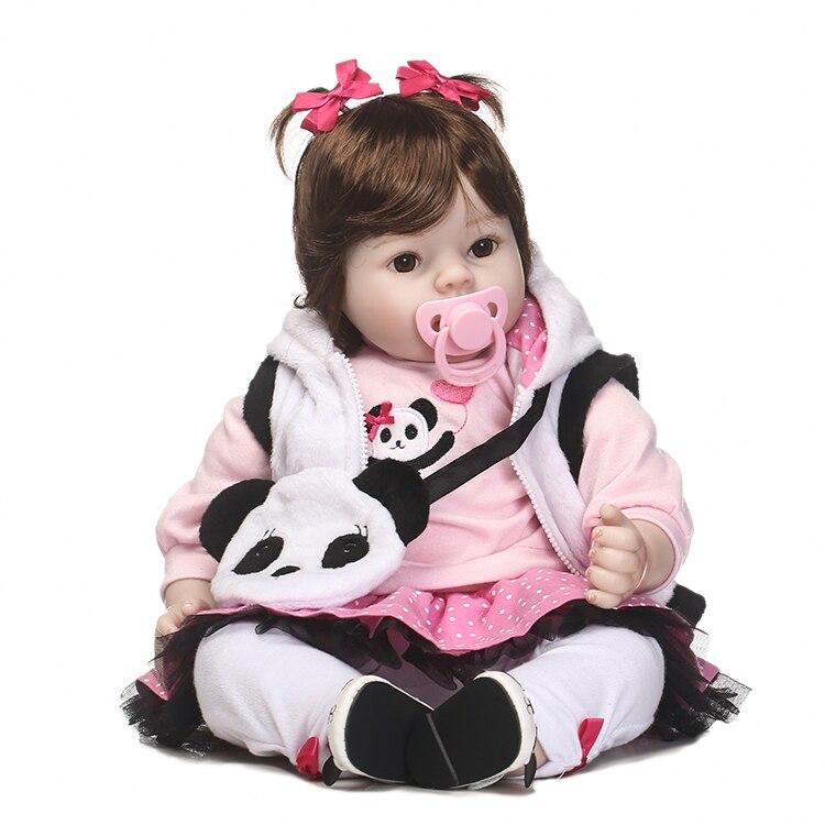 Nicery 20 pouces 50 cm Bebe Poupée Reborn Doux Silicone Garçon Fille Jouet Reborn Baby Doll Cadeau pour Enfants Blanc vêtements Panda Sac Poupée