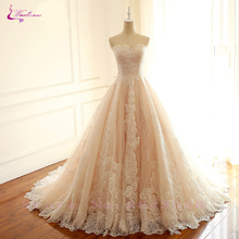 Waulizane Empire Waistline Embroidered Lace Strapless Wedding Dresses  With Lace up Bride Dresses