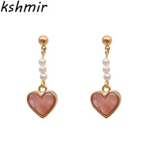 2018 pink earrings femininity act the role ofing is tasted Peach heart-shaped pendant wholesale