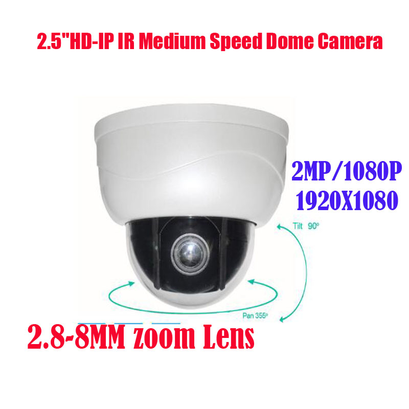 Free shipping New IR 15M 2.8-8mm Zoom IP PTZ Dome Camera 1920*1080P 2MP/ 2.0 Megapixel  H.264 free shipping new 2mp ir 120m 20x optical zoom ahd tvi cvi cvbs 4 in 1 ptz speed dome camera 1080p 2 megapixel 4 7 94mm