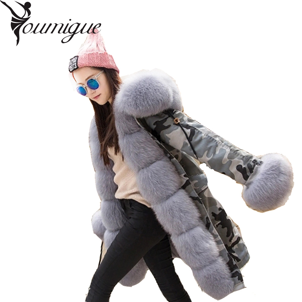 YOUMIGUE Real Rex Rabbit Fur American Army Parkas with Thick Fox Fur Collar Long Women Military