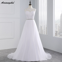 High Fashion In Stock A Line Beading Sash Wedding Dresses Sheer Neck Lace Appliques Bridal Dress