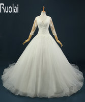 Custom made new fashion v neck lace applique tulle beading sweep train open back formal wedding.jpg 200x200