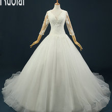 Ruolai Custom Made Sweep Train Wedding Dresses Open Back