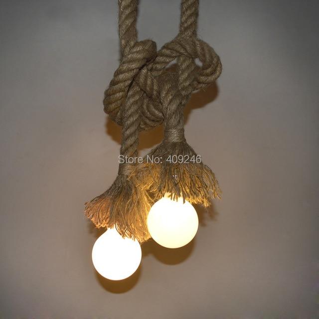 New Diy Hemp Rope Pendant Light Hanging Lamps Single Double Edison Blub Bar Home Decoration
