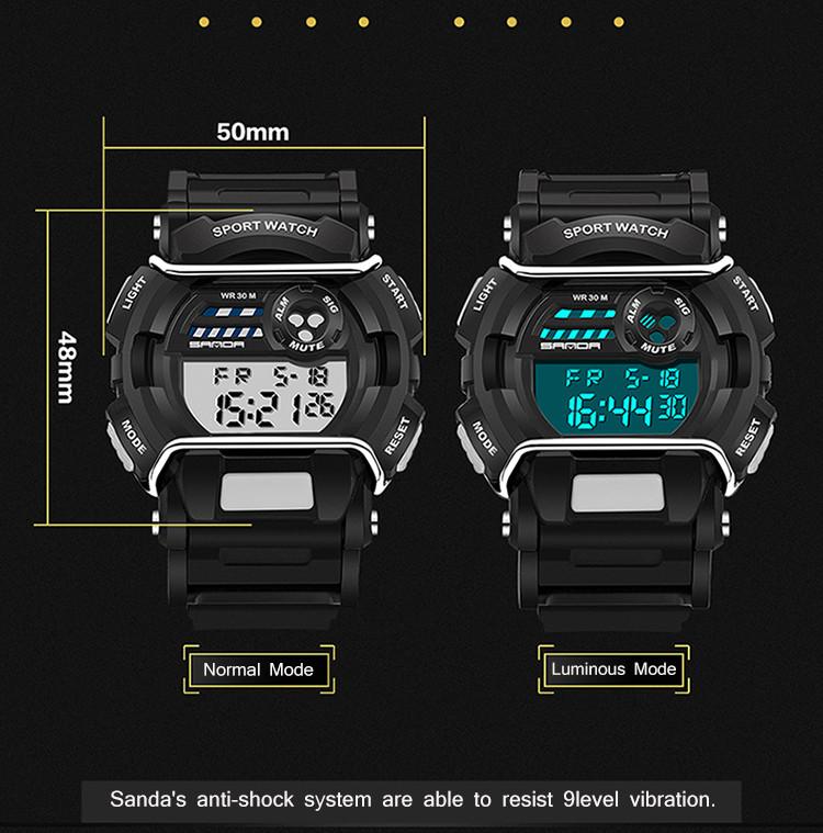 sanda luxury brand led digital watches fashion men\'s sports wristwatches drop shipping (31)