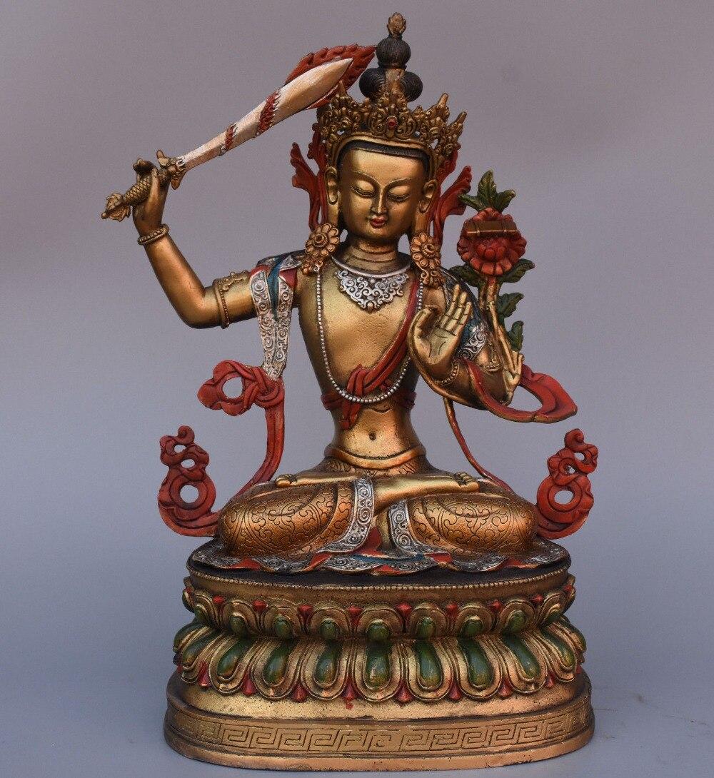 christmas 15 Tibet Buddhism Bronze Painting Wenshu Manjushri Bodhisattva Buddha Statue halloweenchristmas 15 Tibet Buddhism Bronze Painting Wenshu Manjushri Bodhisattva Buddha Statue halloween