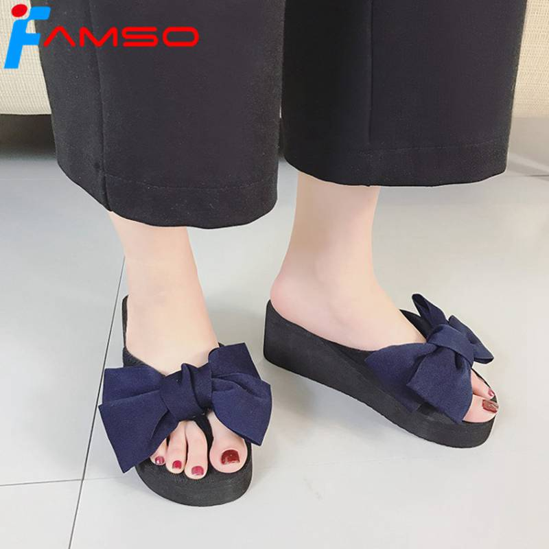 FAMSO 2018 New Fashion Women Slides Blue red Wedges Shoes Summer Flip Flops Butterfly-Knot Ladies Peep toe Sandals women sandals 2017 summer shoes woman flips flops wedges fashion gladiator fringe platform female slides ladies casual shoes