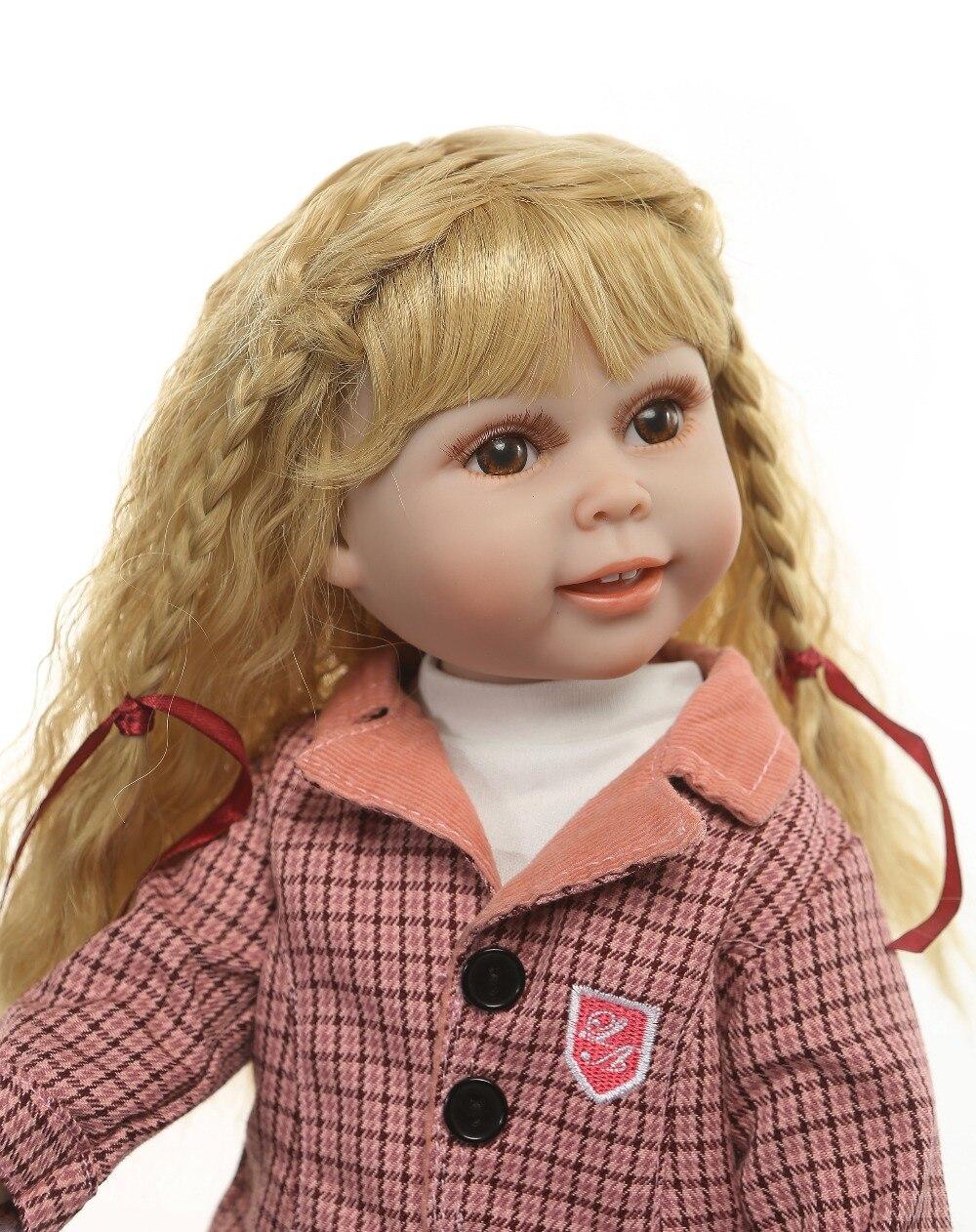 45 cm fille bebe reborn brun long cheveux raides poupées princesse Reborn bébé poupées plein à la main nouveau-né bébé poupée bébé jouets filles