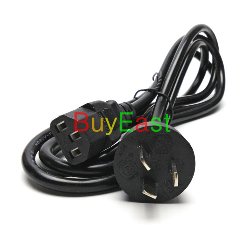 Australian, New Zealand, China Type I Plug Universal 3 Prong Power Cord Cable 1.8M for Desktop Printers Monitors 10A 250V