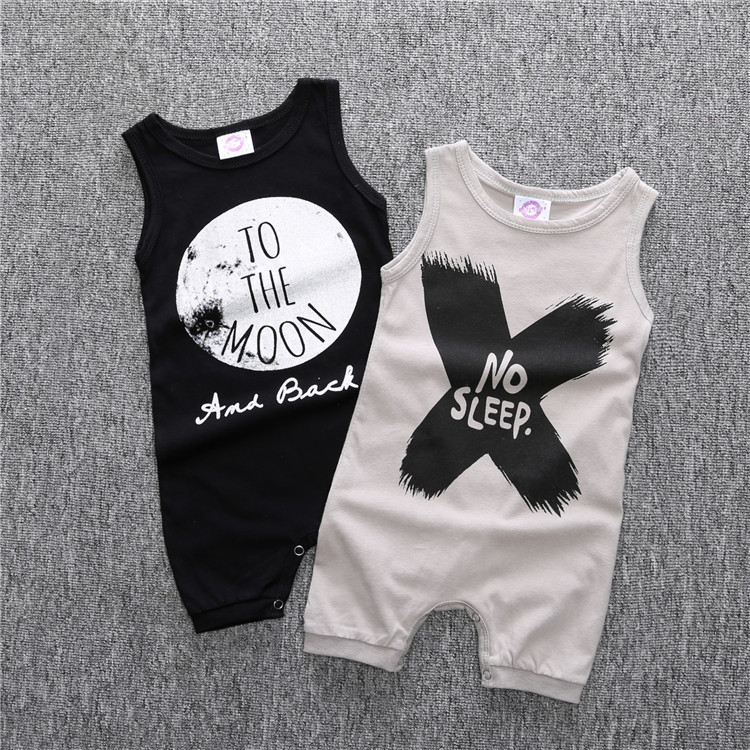 Baby Babe Girls Boys Rompers Infant Girl Boy Sleeveless Romper For Toddler 2019 New Style Jumpsuit Clothing NO SLEEP/TO THE MOONBaby Babe Girls Boys Rompers Infant Girl Boy Sleeveless Romper For Toddler 2019 New Style Jumpsuit Clothing NO SLEEP/TO THE MOON