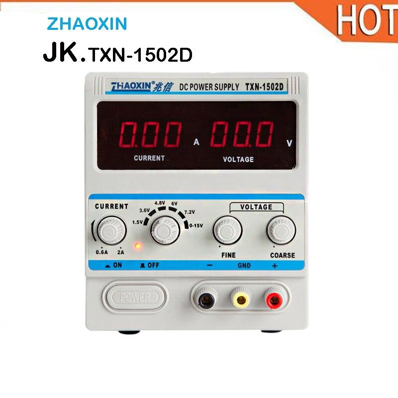 цена на Zhaoxin TXN-1502D Adjustable DC Power Supply 0-15V 0-2A Digital DC Power Supply for Mobile Phone Repair