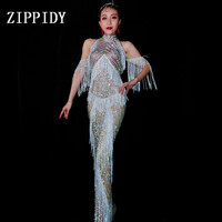 Full Crystals Silver Fringes Party Dress Lady Evening Party Sexy Long Dress Prom Birthday Celebrate Shining Stones Dresses