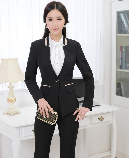 Plus Tamaño 4XL 2015 Otoño Winer Profesional Trajes Chaquetas Y Pantalones de Trabajo de Negocios Formal Estilos Uniformes Mujeres Pantalones Conjuntos