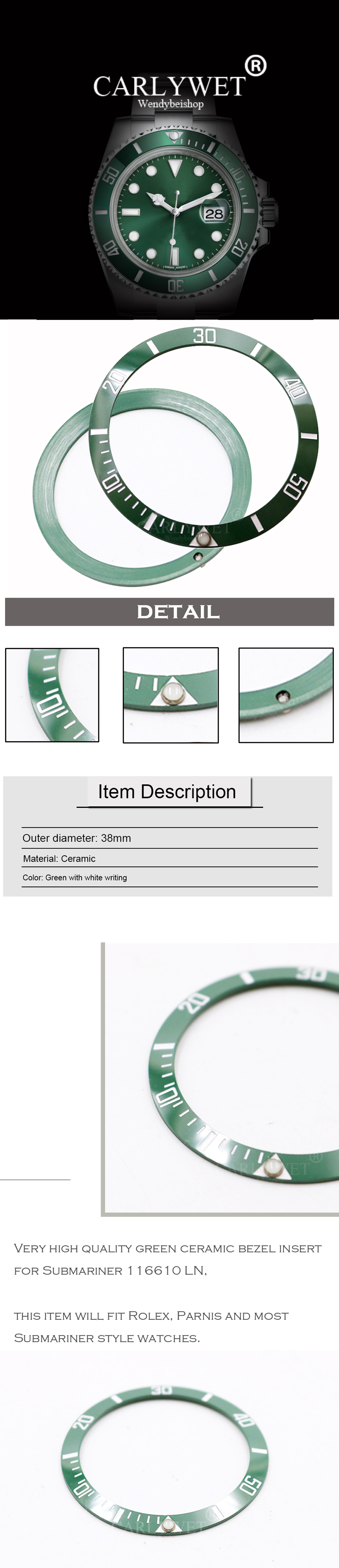 CARLYWET Wholesale Replacement Green With White Writings Ceramic Bezel 38mm  Insert made for Rolex Submariner GMT 40mm 116610 LN