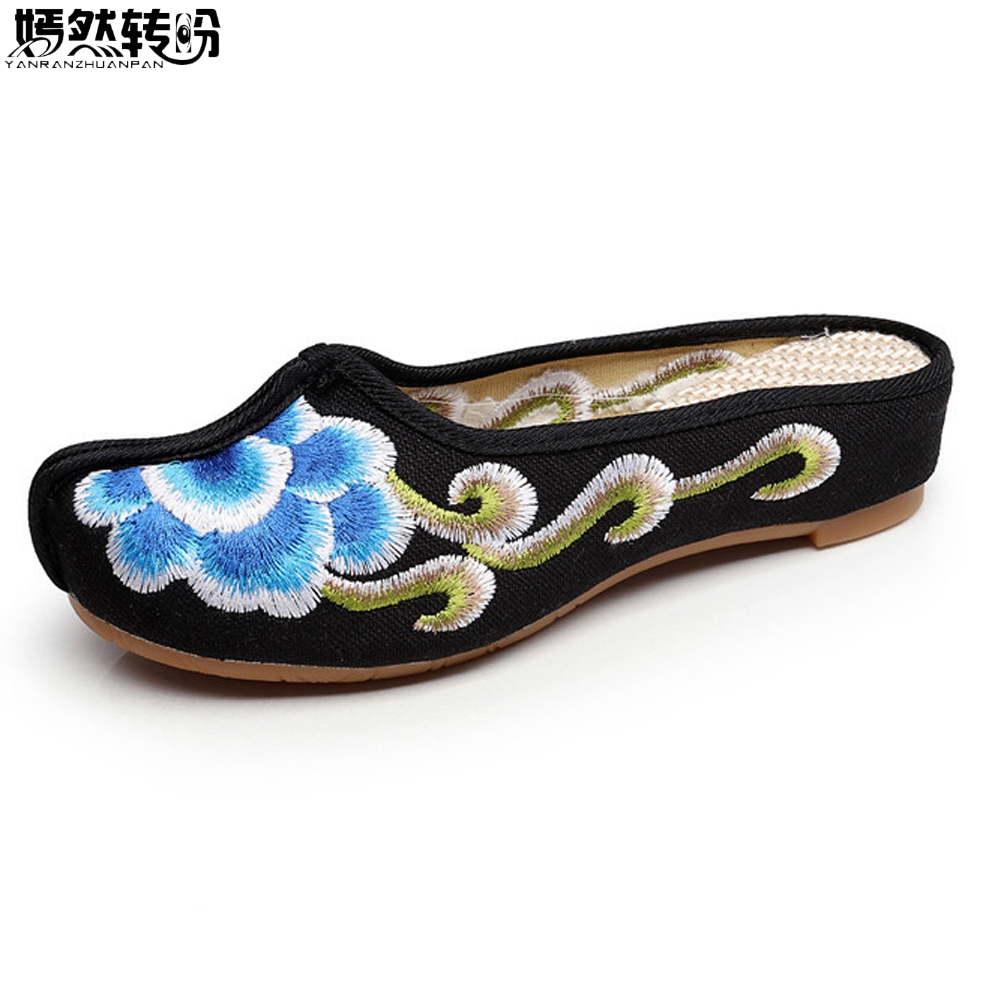 New Women Slippers Autumn Cotton Old Peking Sandals Chinese Flower Embroidered Elegant Ladies Cloth Shoes Sandalias vintage embroidery women flats chinese floral canvas embroidered shoes national old beijing cloth single dance soft flats
