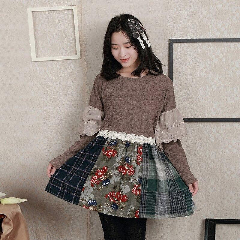 Japonais Mori fille Vintage rétro bohème coton Plaid Floral Patchwork broderie dentelle à volants femmes Blouse automne printemps hauts