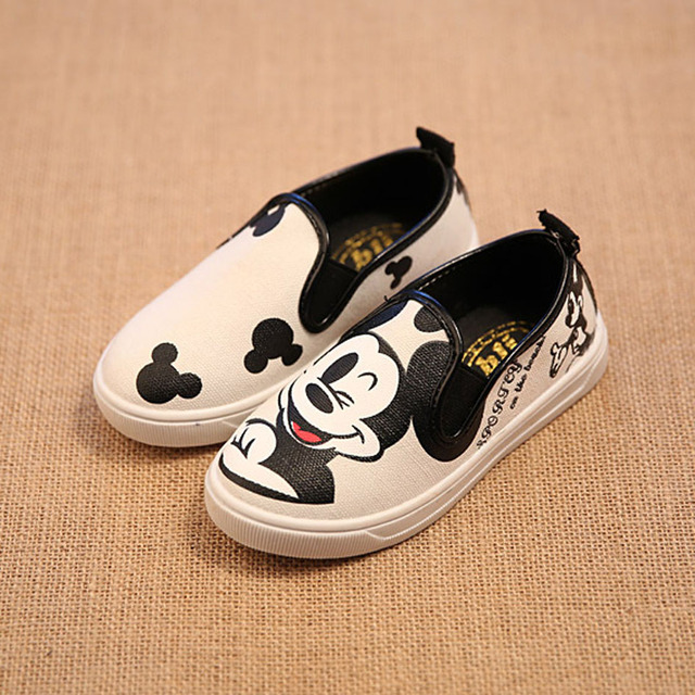 2017 Cartoon Mouse Children Canvas Shoes Slip on Canvas Children Loafers Spring&Autumn Boys Casual Shoes Child Girls Flats Shoes