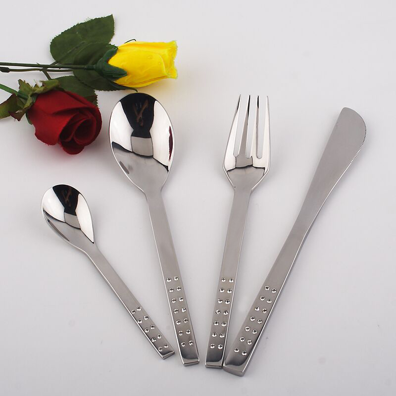 Metal stainless steel spoon fork font b knive b font 4pcs set rhinestones wholesale for wedding