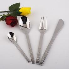 Metal stainless steel spoon fork knive 4pcs set rhinestones wholesale for wedding stainless steel dinnerware sets silverware
