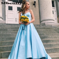 Mbcullyd Chic Light Blue Prom Dresses Long Spaghetti Straps A Line Formal Party Dress Evening Gowns Backless Vestidos De Gala