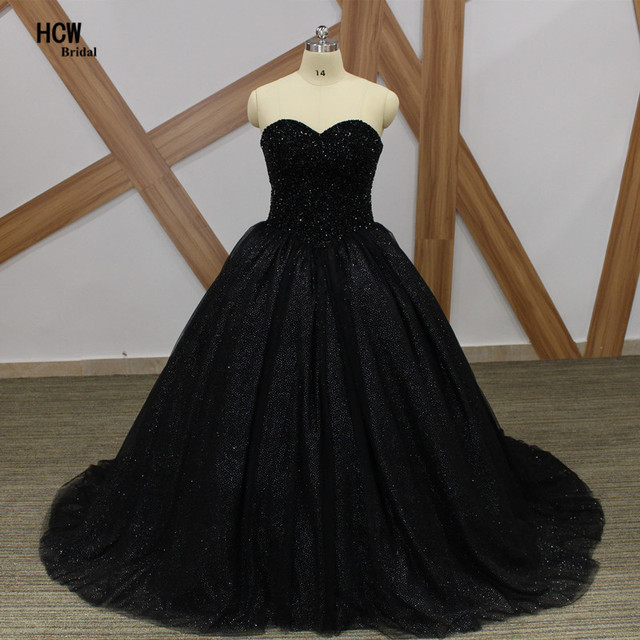 Aliexpress.com : Buy Bling Black Ball Gown Prom Dresses Strapless ...