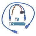 Adaptador USB 3.0 PCI-E Expresso 1X A 16X Extensor De Riser cartão de 30 CM/60 CM De Cabo De Energia USB SATA 15pin macho 4pin cabo