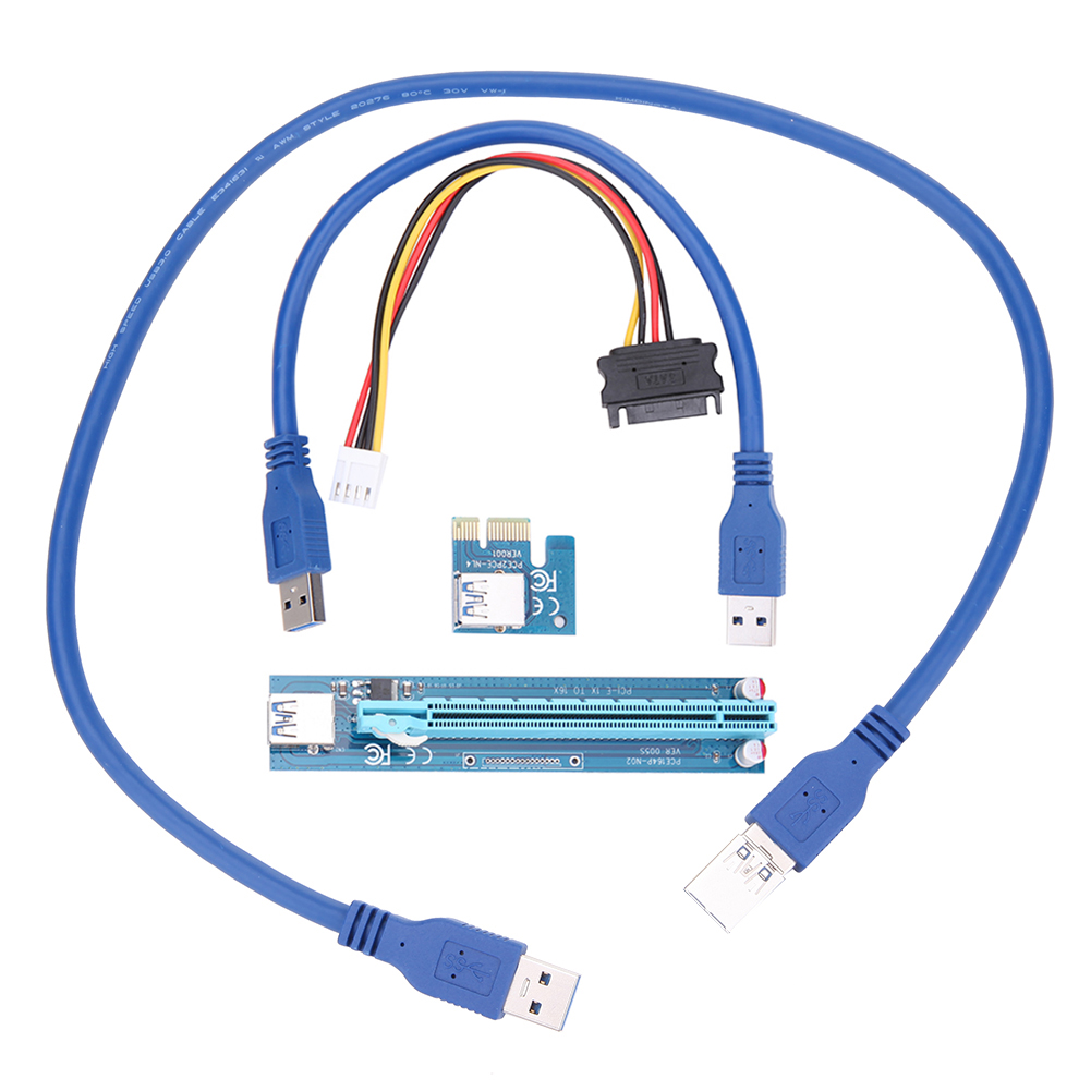 USB 3.0 PCI-E Express 1X to 16X Extender Riser Card Adapter 30/60cm USB Cable SATA 15pin Male to 4pin Power Cord for BTC Mining high quality pci e to usb 3 0 4 port express riser expansion card extender adapter for mining high speed extra power connector