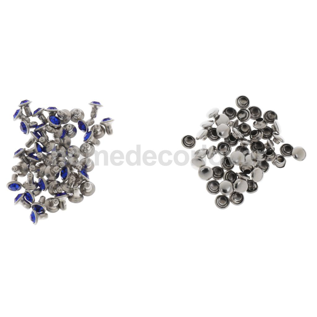 50 Sets Blue Rhinestone Rivets Crystal Rapid Rivets Spots Studs Double Cap for DIY Leather Craft Clothes Bag Shoes Decor