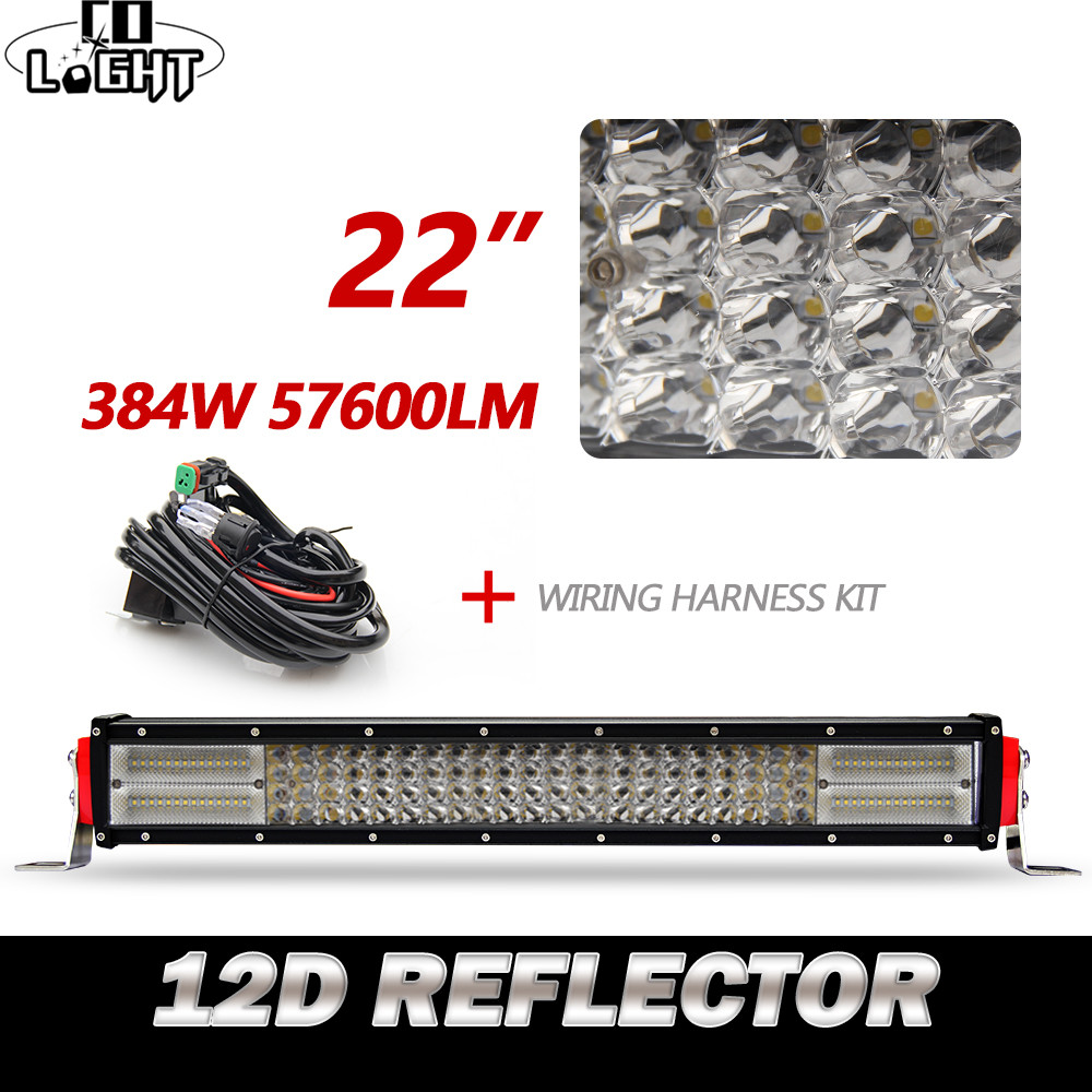 CO LIGHT 12D 22 Inch LED Light Bar 384W Auto Off Road Work Driving Light for Boat Car BMW Truck 4x4 SUV ATV Toyota Combo 12V 24V цена и фото