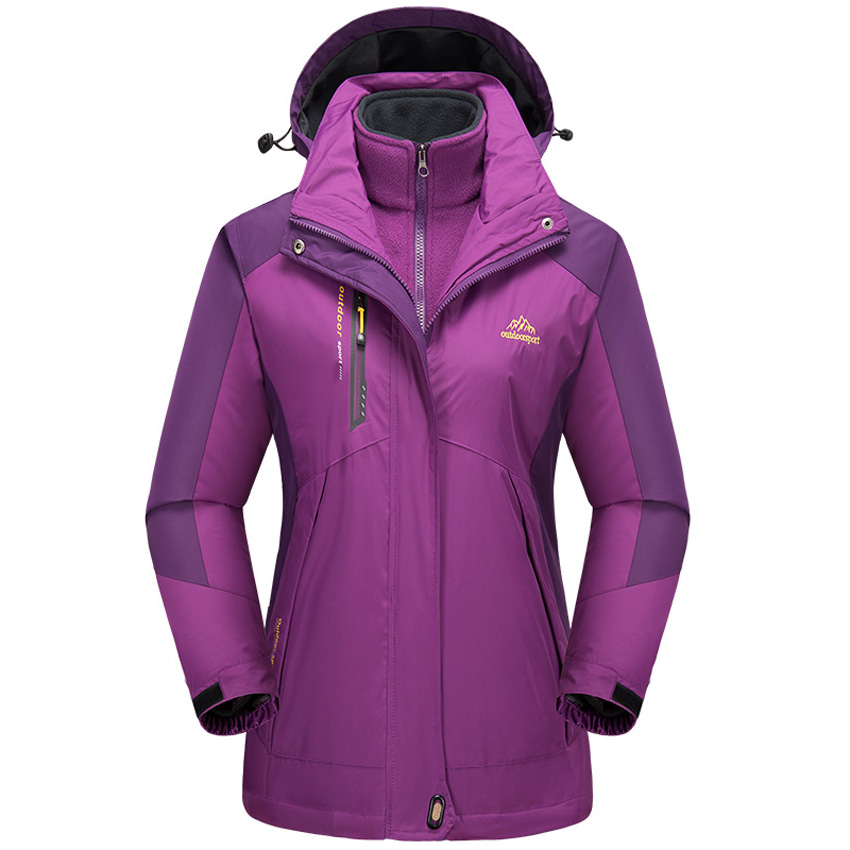 Women's Winter 2 Pieces Fleece Warm Outdoor Sports Thermal Coat Hiking Camping Trekking Climbing Skiing Female Windbreaker MB118