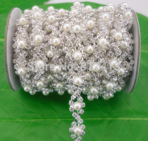 Fashion Costume Applique Clear Glass Crystal Round 5mm White Resin Pearl Rhinestones Silver Claw Rotate Decorations Chain 10cm