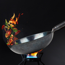 ZSH Hand Hammered Iron woks, Stir-Fry, Non Stick, Carbon Steel Chinese Wok