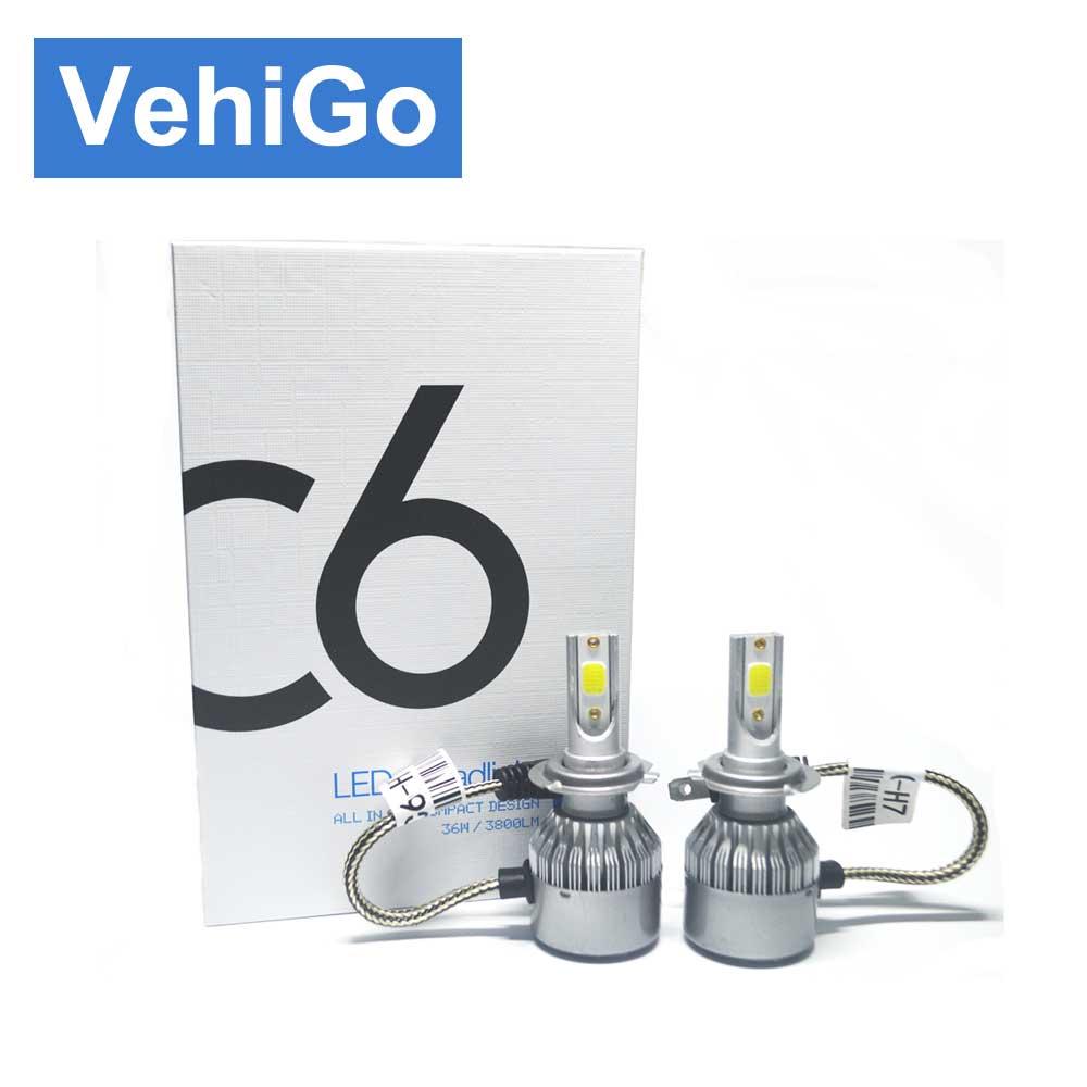 VehiGo C6 H7 автомобиля светодиодный лампы H1 H3 H4 H7 H11 880 881 9004 9005 9006 9007 9012 <font><b>5202</b></font> автомобилей светодиодный лампы 3000 К 6000 К противотуманных фар