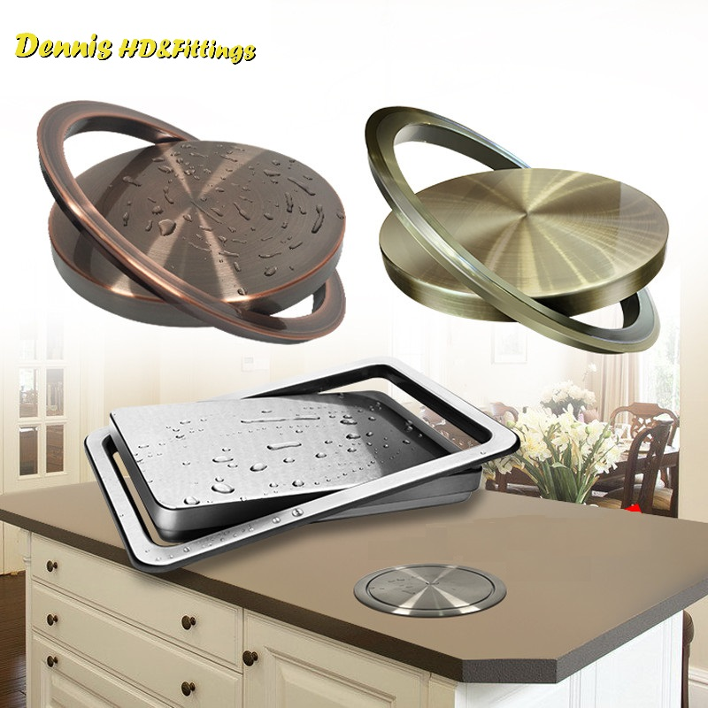 Premintehdw Stainless Steel Flush Recessed Built-in Balance Flap Lid Cover Trash Bin Garbage Can Kitchen Counter Top