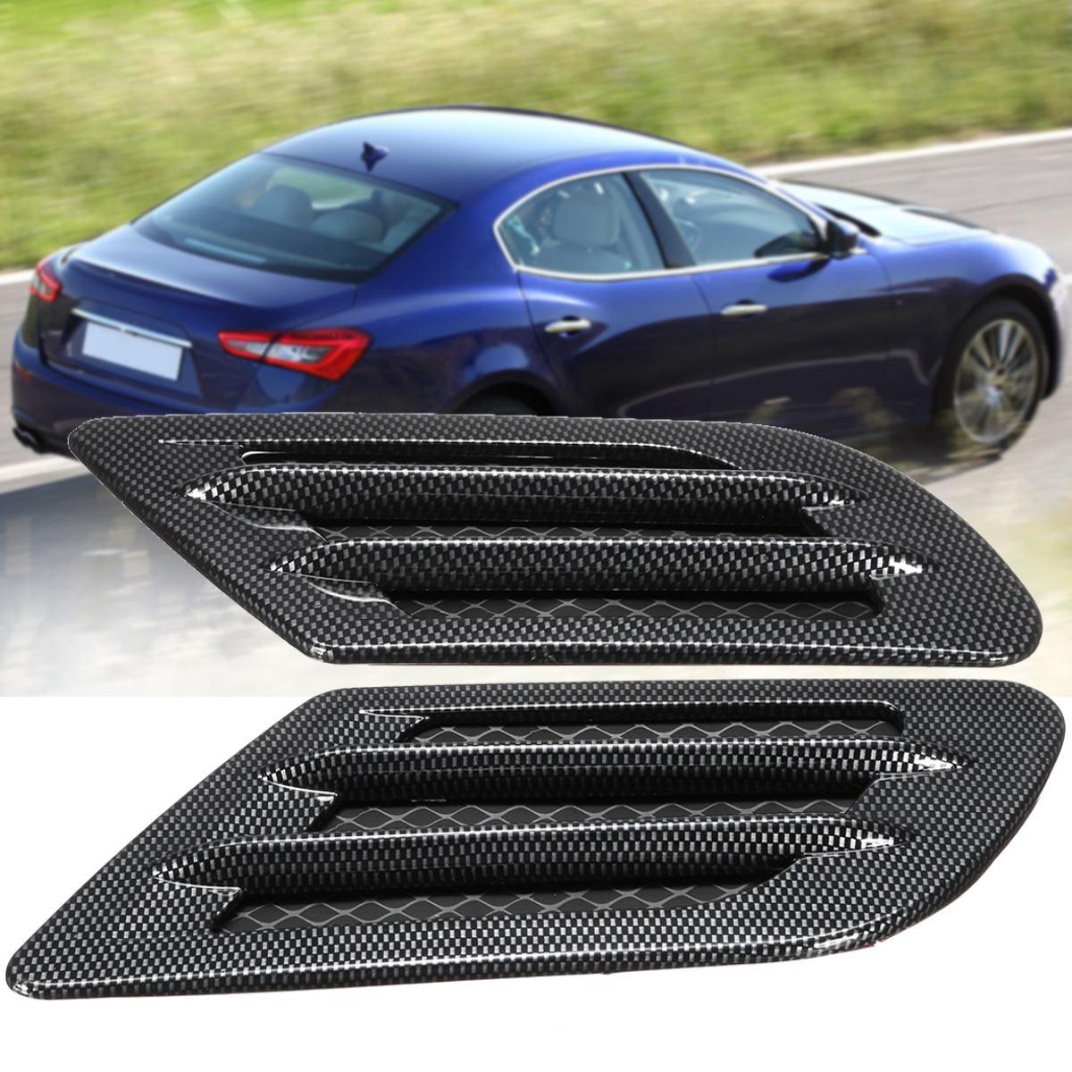 Car Bonnet Cover Carbon Fiber Air Intake Flow Side -Fender Vent Hood Scoop Sticker new 2x car decorative air flow intake scoop turbo bonnet vent cover hood for fender
