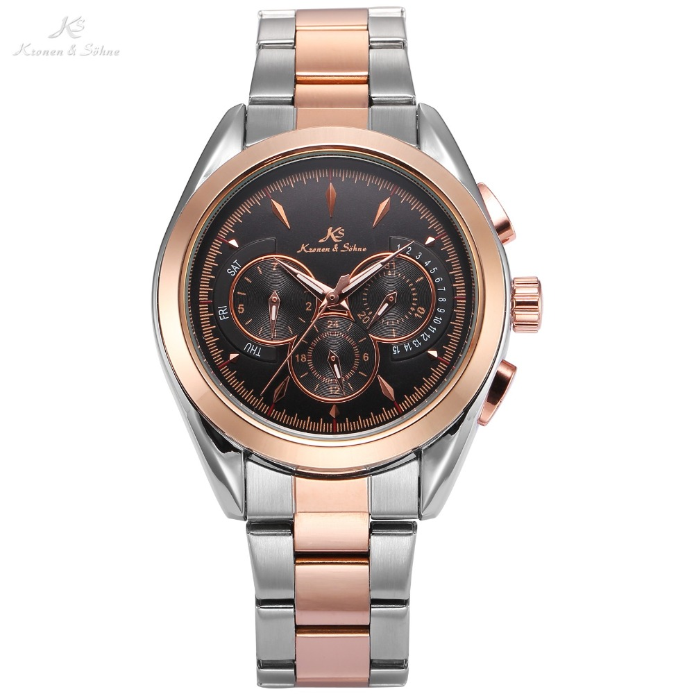 KS Luxury Brand Self Wind Wristwatch Rose Gold 3 Dial Date Day Steel Strap Clock Mechanical Automatic Men Dress Watches / KS226 ks luxury automatic self wind date day 24 hours black 3 dial steel strap mechanical wrist watches mens gents timepieces ks307
