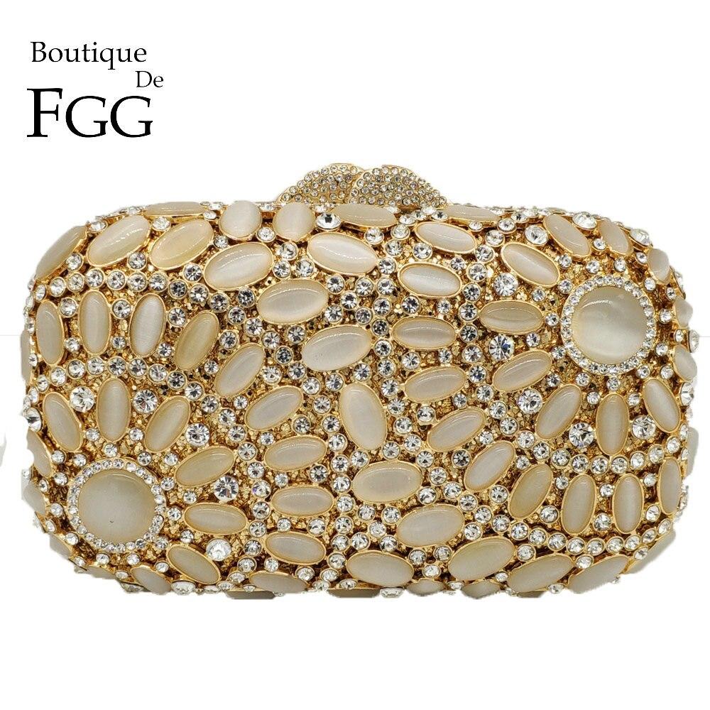 Boutique De FGG Hollow Out Elegant Opal Stones Crystal Women Gold Evening Bag Metal Clutch Minaudiere