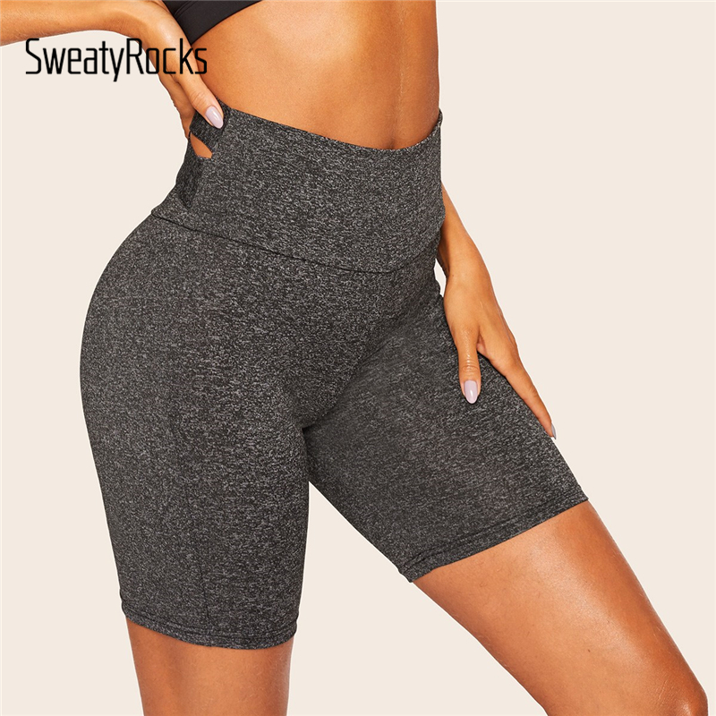 SweatyRocks Solid Cross Back Cycling   Shorts   Active Wear Women Skinny Biker   Shorts   2019 Summer Athleisure Stretchy   Shorts