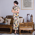 Free shipping floral print Long Qipao traditional chinese cheongsam dress qipao oriental dresses chinese style dress 288