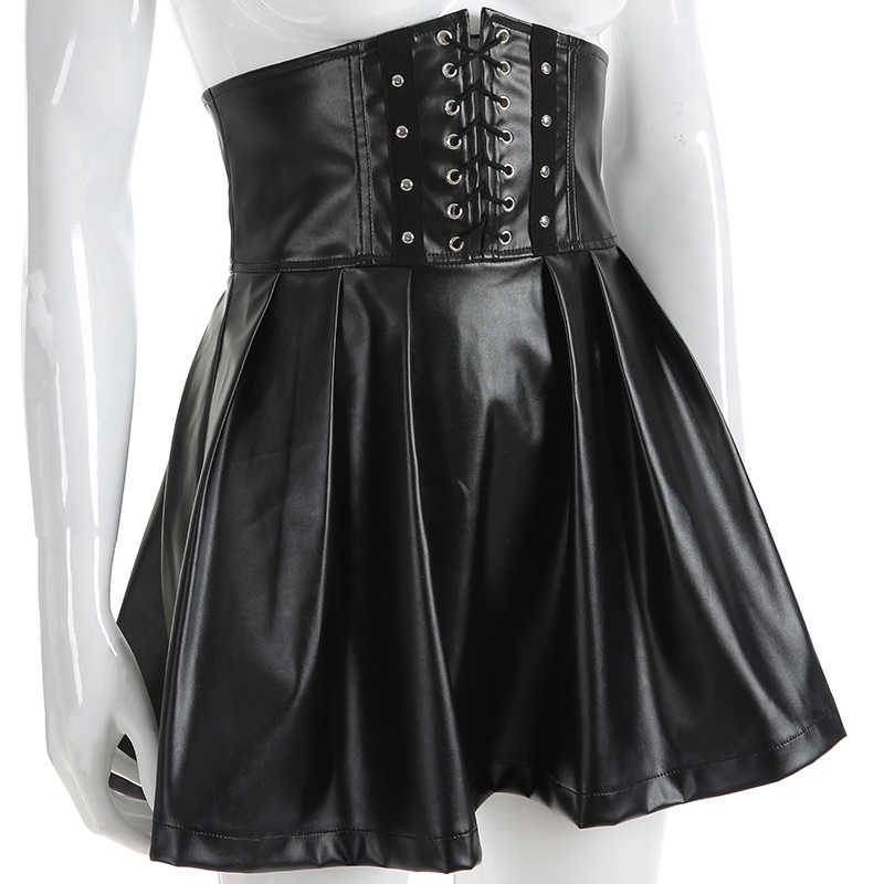 bc4a0e8530 ... Sweetown Black PU Leather Gothic Skirts Womens Moda Mujer 2019 Sexy  Back Zipper Front Bandage High ...