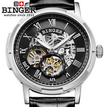 Switzerland Binger Military Army watches men luxury brand Leather Band Watch Automatic Analog Casual Outdoor Sport