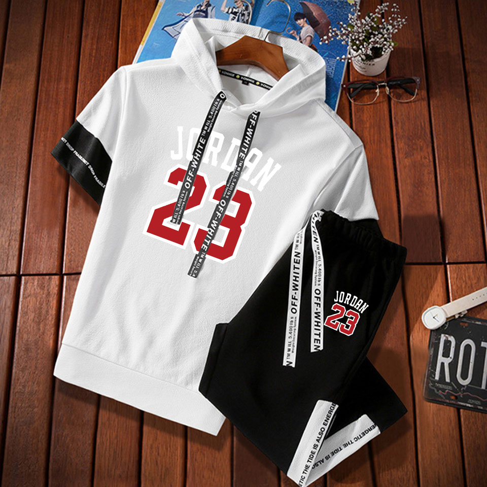 7899fd224b46 2019 New Arrival Jordan 23 Hoodies +Casual cropped pants suit With Hat Men  Short Sleeve Neck Pullover Fashion Solid Cap Sweatshi