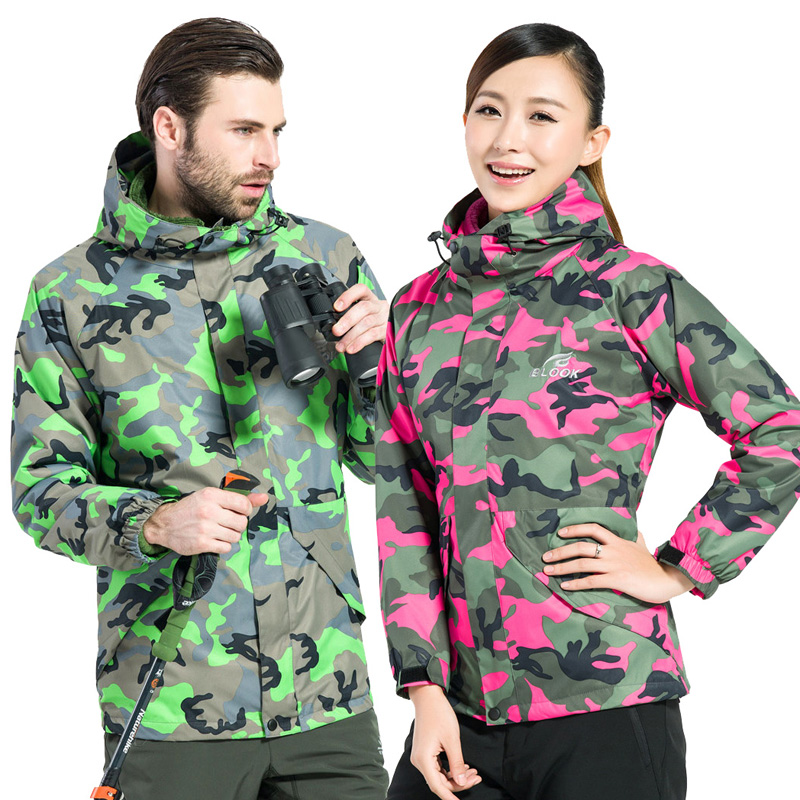 Outdoors Hiking Jacket Camouflage Waterproof Jacket Hunting Clothes Soft Shell Fleece Rain Jacket Camping Women's Windbreaker