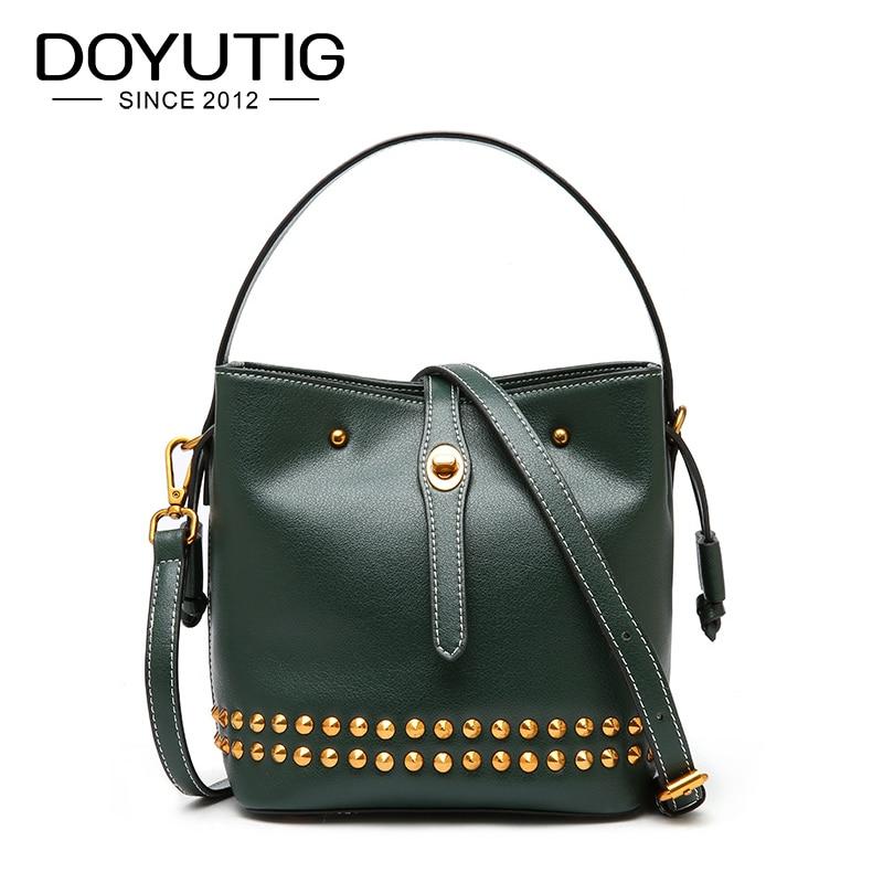 DOYUTIG Vintage Women's Genuine Leather Rivet Bucket Bags Classical Real Cow Leather Handbags For Lady Luxury Shoulder Bag F614