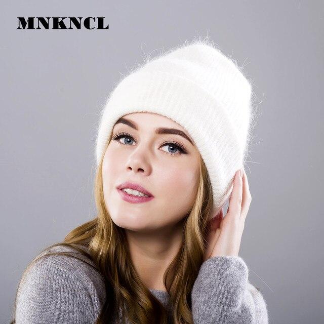 Хит продаж Новинка 2017 года Для женщин осенняя и зимняя шапка с ангорой трикотажные Skullies шапочки Кепки классический цвет шляпы