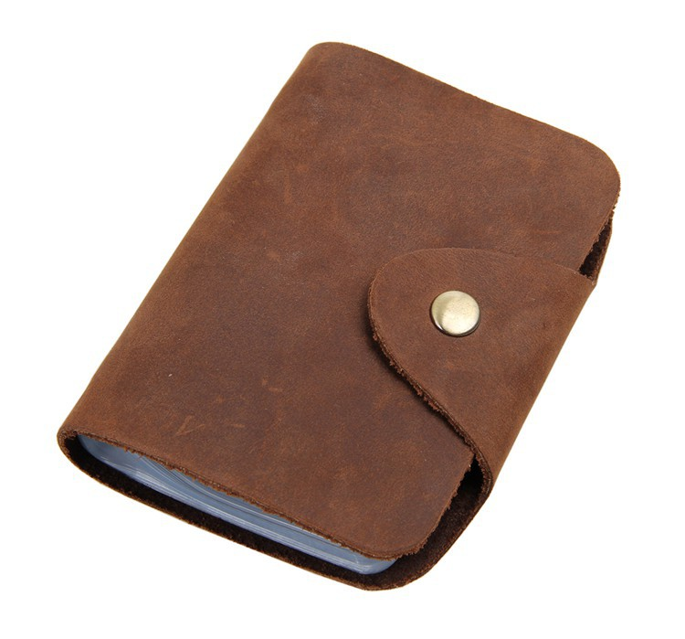 Vintage Brown Genuine Leather Credit Card Holder Men Women Cowhide ID Card Case Bank Credit Card